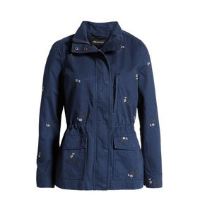 Madewell Passage Jacket in Embroidered Navy Size M